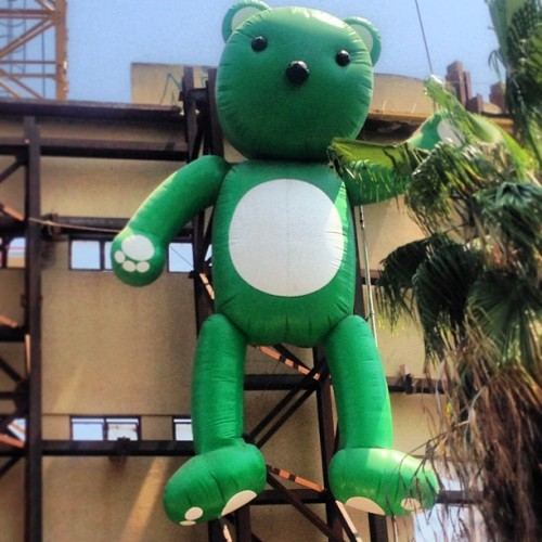 What's up with creepy construction site teddy bear? (at Rama Theater Junction)