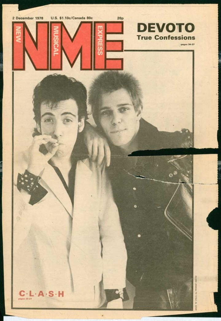 superseventies:  Mick Jones and Paul Simonon of The Clash on the cover of NME, December 1978.