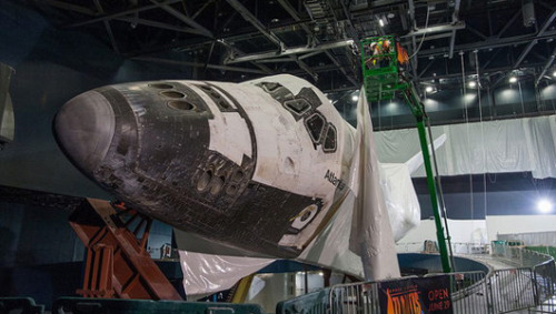 mothernaturenetwork:  Kennedy Space Center unveils shrink-wrapped shuttle Atlantis The shuttle's wrap was intended to shield it from dust and debris while its exhibit was constructed.