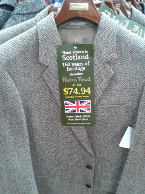 """$75 Harris Tweed jackets at Walmart This has to be one of the most curious deals I've read about in a while. According to forums Ask Andy About Clothes and X Marks the Scot, Walmart is selling Harris Tweed jackets for $75. According to the forums, they're manufactured in Bangladesh and come sized by chest size, even in """"long"""" sizing. They're not at every Walmart store, just some select areas. And there's a selection of six different fabrics. This might be a decent pickup for those of you looking for such a jacket, as I highly doubt you'll find a Harris Tweed blazer for this price at retail. Even with alterations, you're easily looking at probably no more than $150 total. Still, there's plenty of reason to be skeptical, especially at such a low price. I'll admit to even having the thought, """"If it's too good to be true, then it probably is"""" cross my mind. And it's worth noting that you can often find plenty Harris Tweed jackets on both eBay and in thrift shops at a lower price, too. If anyone comes across these — or buys one — please get in touch. I'd love to do a follow up. (I'd check this out for myself, but Walmart is a rare species in the Windy City.) -Kiyoshi"""