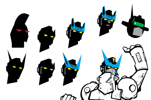 Robot head silhouette tests. I like to play with the shadow and outline of the head first before I settle on a design. Is there a faster way? Probably! Will I try to figure that out? Maybe!