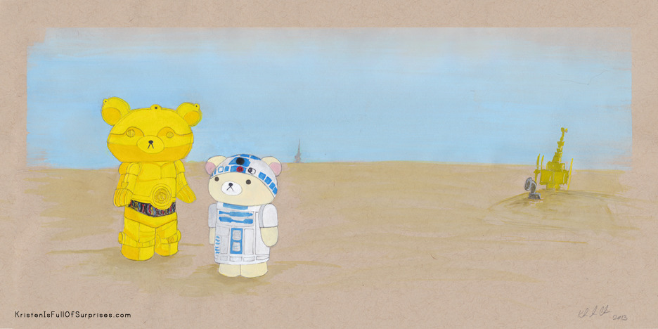 These aren't the bears you are looking for. (I've wanted to do a Rilakkuma [Relax Bear] Star Wars mash-up for a while now. I think they make a great C-3PO and R2D2! This was a gift for a good friend of mine who's moving away…) Medium: Gauche http://kristenisfullofsurprises.com