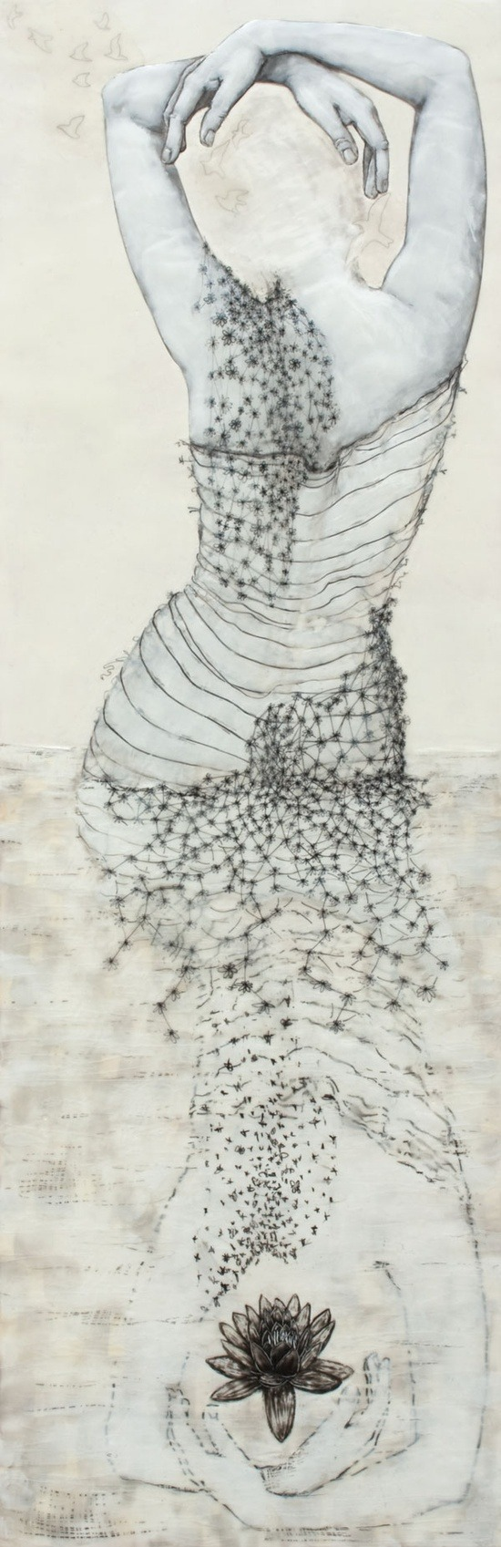 darksilenceinsuburbia:  Andrea Benson. Wader with Lotus. Encaustic on wood panel with paper and drawing.     Website