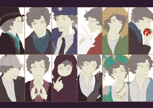 thepalefool:  The different faces of Sherlock Holmes. Basic colors. Sketch. Gotta catch'em all XD.