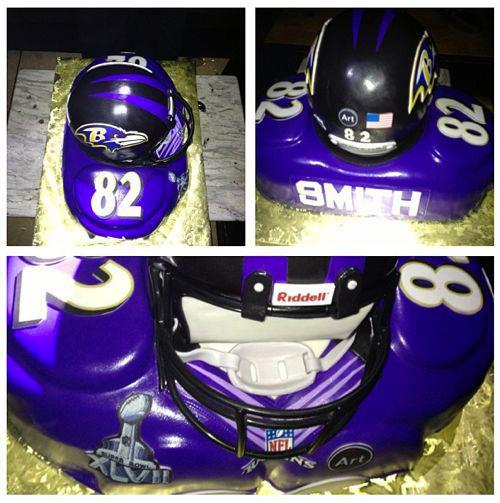 "nflnewsandtalk:  - TORREY SMITH GOT AN AWESOME BIRTHDAY CAKE OF HIMSELF - Torrey Smith has plenty of reasons to celebrate this week. The Baltimore Ravens receiver and his team were set to arrive in New Orleans Monday in advance of Super Bowl XLVII, just two days after he celebrated his 24th birthday.As you can see from the photo that Smith shared on Twitter over the weekend (with the caption, ""My birthday cake….COLD!!!), somebody ordered an incredible cake for the second-year receiver. If I didn't know any better, I would probably think that was his actual helmet and shoulder pads."