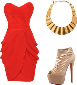 Simple Red Carpet by dbreck featuring peep toe heelsRed strapless dress / Christian Louboutin peep toe heels / Oscar de la Renta gold plated jewelry, $695