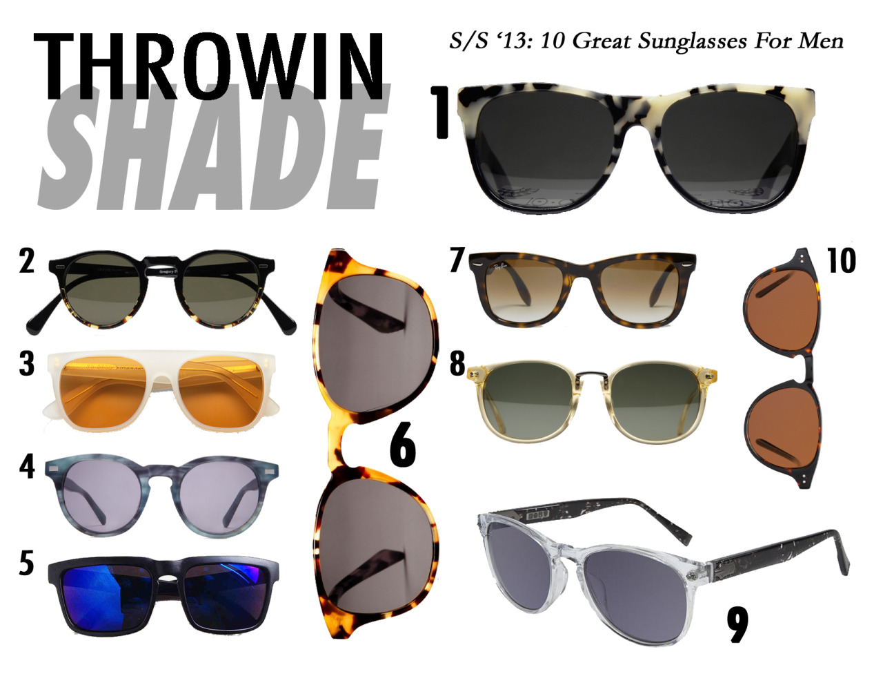 "Shopping Guide: Best Men's Sunglasses For 2013 Throwin Shade Sunglasses are good for many reasons. Mainly, they hide your face when it's puffy and you're hungover which is why I never take mine off all summer.  Also, when you wear them people can't see you. You're basically invisible to all the haters and can do whatever you want which is dually useful for blatantly checking out cute guys, or girls (we don't discriminate at Closet Freaks), or straight up staring DOWN a basic bitch. But on a serious note, I think technically they're good for your eyes because they protect them from UV rays…or something. So cute ""sunnies"" are a win-win all around! Peep my top picks for the sexiest shine blockas and #treatyoself to a new pair this summer.  Shown Above: SUPER ""10 Corso Como Seoul"" Oliver Peoples ""Gregory Peck"" SUPER ""Classic Matte Dusk"" Warby Parker ""Jasper"" Tevin Vincent ""Polarize"" Warby Parker ""Downing"" Ray-Ban ""Wayfarer"" Gant Rugger ""Floyd"" John Varvatos ""774"" John Ruvin & Company ""Prescott""   FACEBOOK 