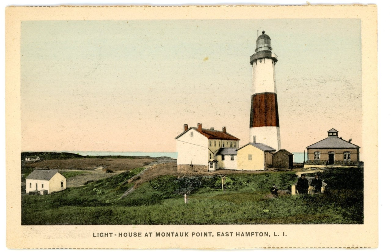 "sugarmeows:  Vintage postcard of ""Light-house at Montauk Point, East Hampton, L.I."""