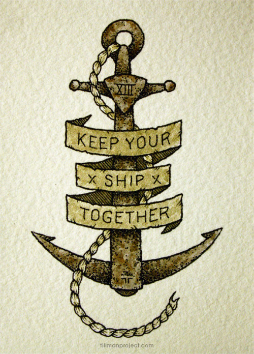 "chechitout:  ""shipwrecked"" (pen & watercolor, 2.5""x3"")"