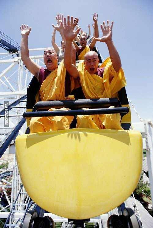 davidfoshizzle:  Buddhist monks on a roller coaster.