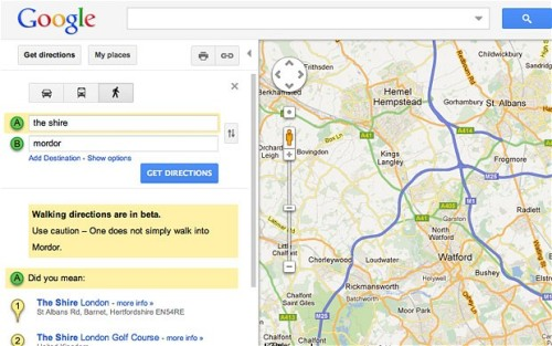 Google Maps offers warning.