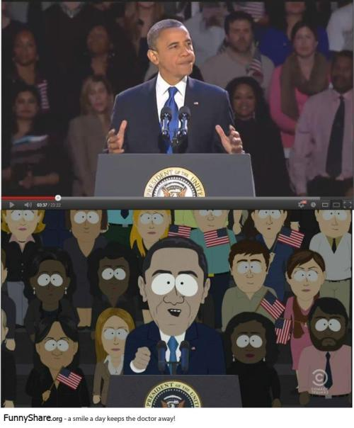 felicia-serban:  South Park nailed Obama's victory speech, even the crowd!