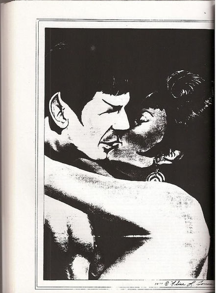 tumbler-is-illogical:  some vintage spock/uhura fanart from 1977.