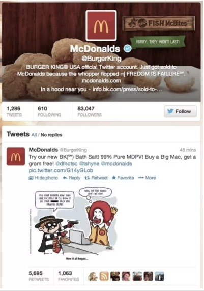 "Haha. The Burger King Twitter account was just hacked and recently suspended. LOL. Now with 99% more bath salts!.. Probably not good for the food though… Supposedly Anonymous or Lulsec or ""iThug"" (or all the same thing) was behind it. Either way, pretty funny stuff."