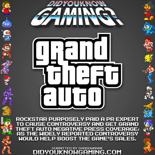 didyouknowgaming:  Grand Theft Auto.Source.  smart