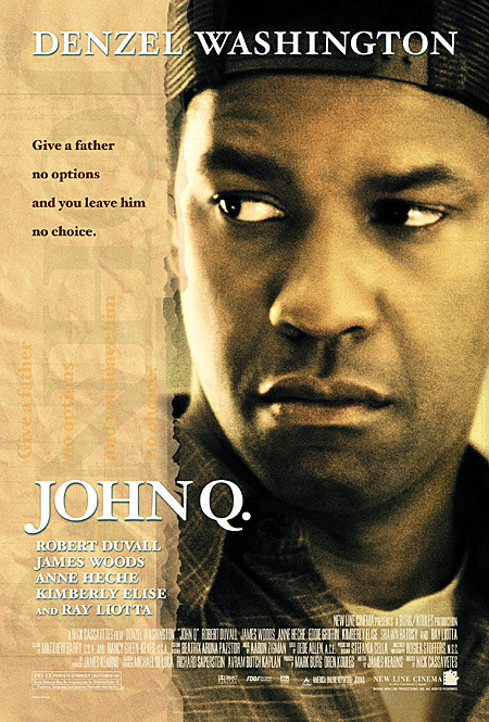 #494/#45 John Q (Rewatch) When pushed to his limits trying to provide for his sick son, John Archibald (Denzel Washington) has to take matters into his own hands by securing several hostages at the hospital in order to get his son a new heart. This is another film I watched for the first time when I was quite young but something about it just stuck with me. Washington is very powerful in this role. He's one of those actors who tends to be good no matter what he's in but he's especially on his game for this movie. Kimberley Elise plays his wife, and mother of the dying son, and she also commits to this whole heartedly. There's nothing about the sequences in the hospital, between Washington and the hostages, or the lead up to the discovery of the heart problems which I would consider lets the picture down in any way, but if there is one poorer section of this film then it's the way the hostage situation is dealt with by the police. Robert Duvall plays the hostage negotiator and Ray Liotta the chief of police and it's really not interesting. They're both very reactionary and they don't create the tension and/or friendship from the back and forth between the hostage taker and the negotiator you would expect to see. Everything interesting takes place within the hospital making those on the outside feel largely superfluous. This aside, the rest of the movie is well worth your time. Some say it's a little heavy handed with its message about the American health care situation (and in some instances it can be) but for that situation for a father pushed to the edge trying to look after his boy I think it hits the right balance of emotions. I'd happily rewatch it again and you should check it out if you haven't before now. 4/5