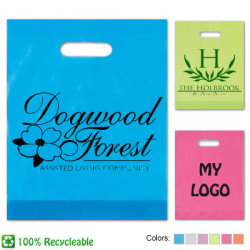 Promotional Frosted Plastic Bags Recycleable bags are great for ANY Business. Summer color choices and die cut handles. Customize with no set up fees.