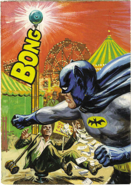 A sample Topps Batman card from 1966. Art by Norman Saunders.