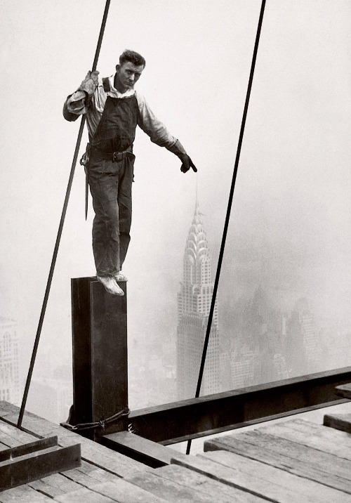 Lewis Hine Steelworker standing on beam, 1931 From George Eastman House