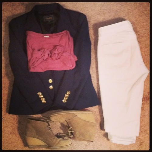 Outfit of the Day 3.13.13 - Academy Blazer, Skinny Skinny Ankle Jeans in Whitewash - #madewell; Three-Quarter Tissue Tee, MacAlister Boots in Nut, #jcrew #ootd #wiwt #fashion #teacherstyle
