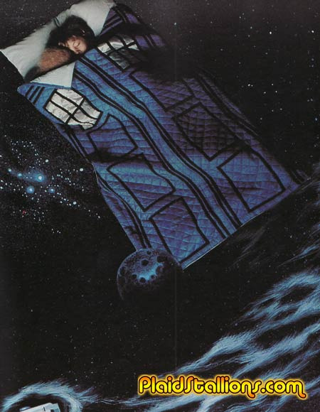 Classic Doctor Who TARDIS Sleeping Bag  Again, via Plaid Stallions: http://plaidstallions.blogspot.com.au/2012/03/doctor-who-pattern-book.html