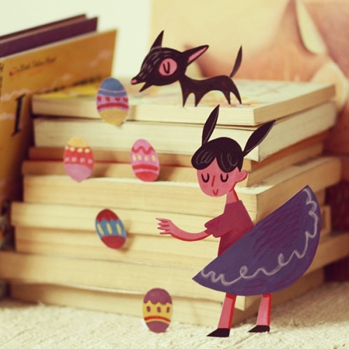 blokmagnaye:  Had a little fun with cut outs today. Happy Easter!