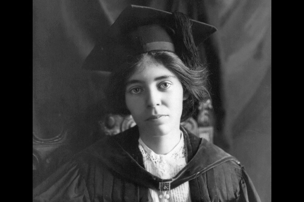 Suffragist Alice Paul, in a 1913 photograph. Paul was born in New Jersey, earned an M.A. and Ph.D. from the University of Pennsylvania, then traveled to England and became friends with members of the women's suffrage movement there. She soon became very active herself, and, on returning to the United States soon after, joined the National American Woman Suffrage Association (NAWSA). Her first actions as part of NAWSA were to organize a massive parade in Washington, D.C. to promote a new constitutional amendment that would guarantee women's right to vote in the U.S.  This weekend, celebrate the 100th anniversary of the march for women's suffrage.