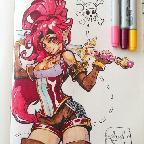 La pirata ahora con color. 💀⚓️ #pirate #girl #penbrush #copics #drawing #felsus #tinta #ink #dibujo #sketchbook #sketchbook#dibujo#drawing#tinta#felsus#penbrush#ink#girl#pirate#copics