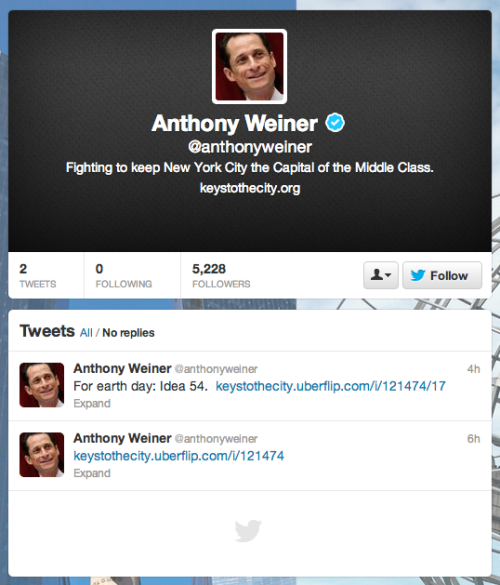 Today in comebacks: Anthony Weiner is back on Twitter. It might take him a while to get back to that insidery style a lot of people loved about his old Twitter feed … but on the other hand, that got him in trouble last time. Give him a follow.