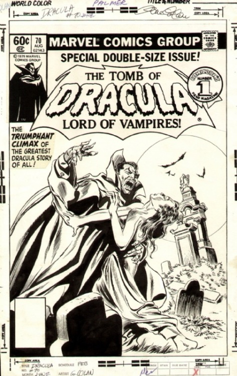 The cover to TOMB OF DRACULA #70, the final issue, by Gene Colan and Tom Palmer.