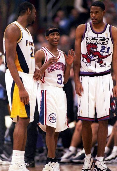 Eric Dampier, Allen Iverson and Marcus Camby at the 1997 NBA All Star Weekend Rookie Game