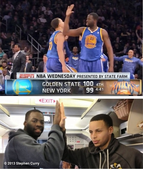 sportscentr:  Steph Curry, no longer leaving Draymond Green hanging.  Draymond! Unfortunately, Golden State ended up losing.