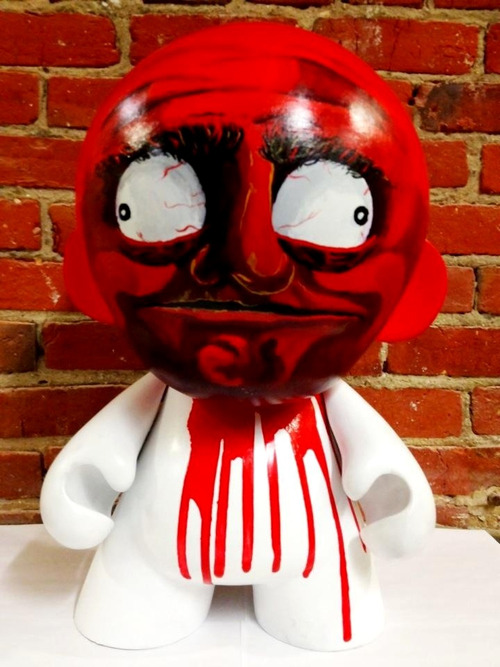 "Here's a custom Kidrobot Mega Munny that I painted. I thought it would be fun to give the ""me gusta"" meme some color and dimension. Acrylic on vinyl."