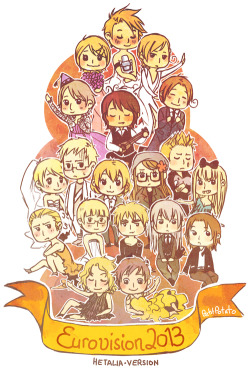 petitpotato:  Eurovision Song Contest means it's Hetalia time :D I really don't have enough patience to draw anything decent, so have some quick chibis >w< (Antonio and his yellow dress are dedicated to Makki <3)