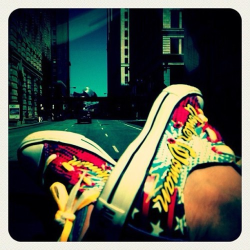 Rockin' my #converse #chucktaylors #wonderwoman while cruisin' around the city :) #shoes #sneakers #love