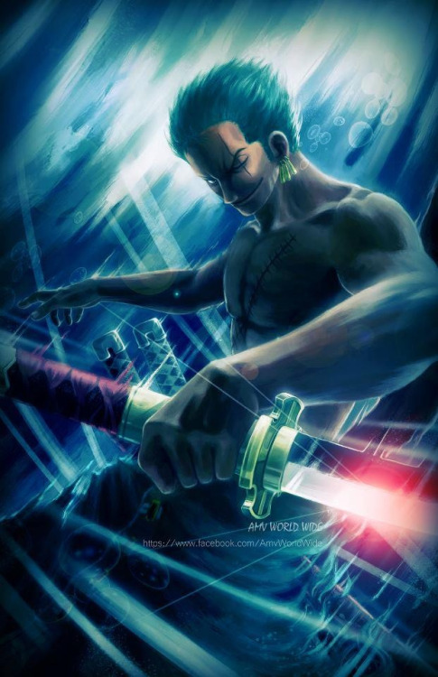 mitchcock1315:  An epic pic of my favorite anime character, Roronoa Zoro. He's from the anime One Piece.