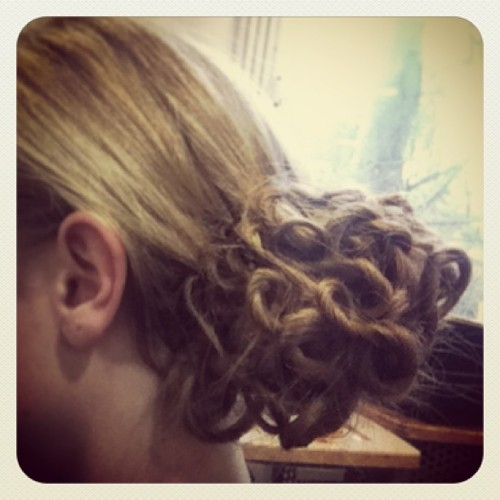 Livin' the couture life and being a hair model! #hair #model #updo #bun #curls #prom #wedding #style