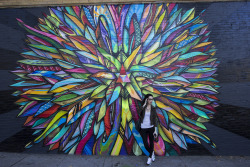 ericmolyneaux:  Haight St. in San Francisco with Rissa.  Oh sup. This is me staring at some creepy dudes in front of an Apexer piece.