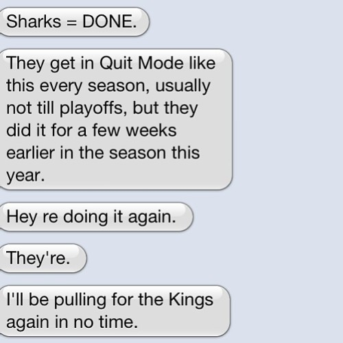 This message came from a sharks fan. I'll hide his name for security purposes