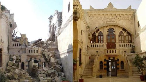 "melissanozell:  ""Syria's architectural landscape is also taking a toll. The artist Khaled Akil posted this image on his Facebook, and gives you an idea of how the war affects ancient buildings across the country."" - Your Middle East"