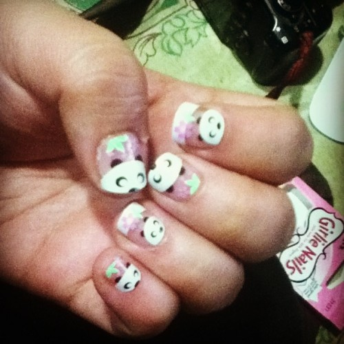 PANDA NAILS! They are so kawaii!!!! \( ^ 3 0 )~