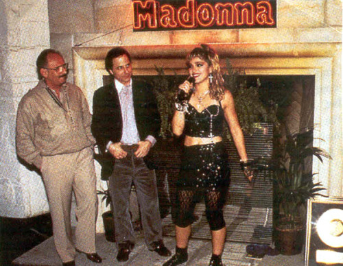 Madonna with Mo Ostin from Warner Brothers Records during the Virgin Tour 1985