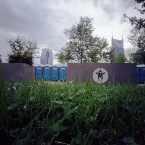 Pinhole: Batman, Pinnacle, Titans, Toilets on Flickr.Leftover toilets from last weekend's Music City Marathon. LP Field serves at the finish line. Part of my Worldwide Pinhole Day roll shot April 28. Zero Image 6x9, f/235, Kodak Portra 100T, about  10 seconds