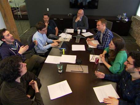 "EXCLUSIVE: Inside 'The Onion' pre-Oscar editorial meeting (Photo: Rock Center with Brain Williams) Two weeks before the 85th Academy Awards, Rock Center's Harry Smith sat in during an ""Onion"" editorial meeting where they brainstormed content for Oscar night. The staff discussed several possible headlines and mentioned nine-year-old ""Beasts of the Southern Wild"" actress Quvenzhané Wallis. During the awards, Wallis was the butte of a controversial joke tweeted by ""The Onion."" Read the complete story and watch Harry Smith's full report tonight, March 1 at 10PM/9C on NBC's Rock Center with Brian Williams."
