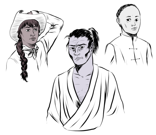 the paniolo, the samurai and the young monk —- characters from a really important project that i want to do in the future. one of my goals is to make this comic series/graphic novel that will be in the school curriculum in Hawaii. most Hawaiian history books cover ancient Hawaii and its mythology and then skip towards the overthrow and then to the white guys who took the Islands over. i want to explore that time period, between 1880-1900, when there were people coming from all over the world, either of their own free will or forced, to try and make a better life there. there were Japanese, Chinese, Portuguese, Puerto Ricans, Maori and Phillipinos all struggling to make a life there and in that struggle they made a new culture, developed a pidgin language they could all speak. but schools don't teach that and history books don't explore this time very much because it was all about the sugar and pineapple industries booming, all about the The Big Five. anyway, this is something i wanna do soon because i would have killed to learn about this insanely important part of hawaiian history in school when i was younger. hopefully i can make this happen…