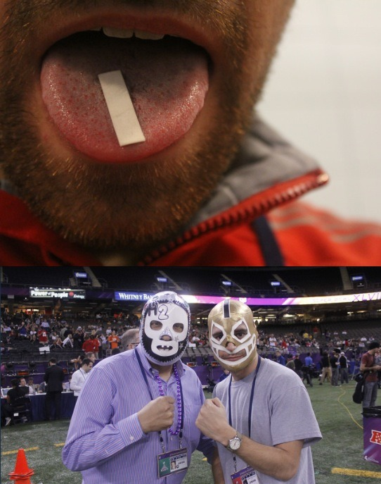"Super Bowl Media Day… on Acid!  My first decision was whether to take the five-dose strip of LSD before or after I arrived at the Superdome. I settled on doing it after, which turned out to be the right choice. The line for media to get into the stadium was hundreds of people long and zigged and zagged through the bowels of the Superdome garage in a way that made it impossible to tell how long it was and what was around the next corner. It just so happened that the end of this line had some bomb-sniffing dogs and fully armed military personnel. As I told my editor later, if I had eaten the acid before getting in line, this story would've ended when I saw the bomb-sniffing dogs. I would've high-tailed it out of there—probably screaming—and been eaten by those vicious animals. Despite having worked as a full-time sports journalist in a past life, this was my first time at a Super Bowl Media Day. I was surprised to find that there was no workstation set up for me to drop off my stuff and get my bearings before sneaking into a darkened corner to take my drugs. Nevertheless, I still managed to take those drugs in a darkened corner—I could tell from experience that the bitter taste and tingling on my tongue was a good sign. I checked my watch: 9:30. The San Francisco 49ers would be on the field in half an hour for their stint with the media. The acid first started creeping in while I was standing next to 49ers quarterback Colin Kaepernick. I overheard someone ask Colin if he was a ""steak and potatoes"" kind of guy, and then I repeated ""steak and potatoes"" a few times into my iPod. I don't think I attracted a great deal of attention, but I almost lost my shit when I noticed Kaepernick was getting beamed, God-like, onto the Superdome Jumbotron while I was standing mere feet away from him.   By this time, the trip was lapping against my mind in more consistent and powerful waves. I was very thankful that I had so many toys with me (my cameras, my iPod, and my smartphone) because fidgeting with my gear was a way to calm myself down. I'm not sure if this looked strange to anyone, but I'm also pretty sure I was staring at my camera without doing anything for what seemed like hours. In reality, it couldn't have been too long, because my next voice memo, recorded at 10:42, has me noting that the 49ers only had a few minutes left on the field and that I hadn't asked any questions. Suddenly, I felt the urge to do something—everyone around me was moving with a purpose while I wandered around aimlessly and stared at the mysteriously pulsating artificial turf. I tried in vain to ask 49ers running back Frank Gore a question, but was beaten to the punch by a radio DJ who asked him if he'd ever had an imaginary girlfriend and some other guy who asked Gore, ""If you had a Pegasus, what would you name it?"" I made a voice memo wondering if I was imagining all of this. Continue"