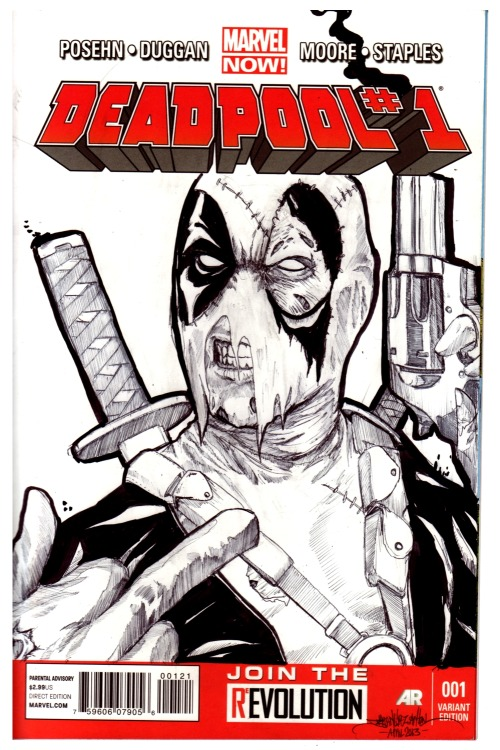 Deadpool portrait. the last times I've drawn Deadpool, have been full-body shots, with a lot going on. for this one, I wanted something that would be the opposite of that: up close and clean. rather than focus on the action, I wanted his facial expression to be the emphasis, so I set this up as a portrait… or the way you'd imagine his online profile picture to look. I gave him the classic Johnny Cash/Tupac flipping the bird pose,to represent his somewhat playful, jokester side, but with a gun that's cocked and smoking to remind you that he's ultimately a crazy assassin. done in ballpoint pen and Sharpie