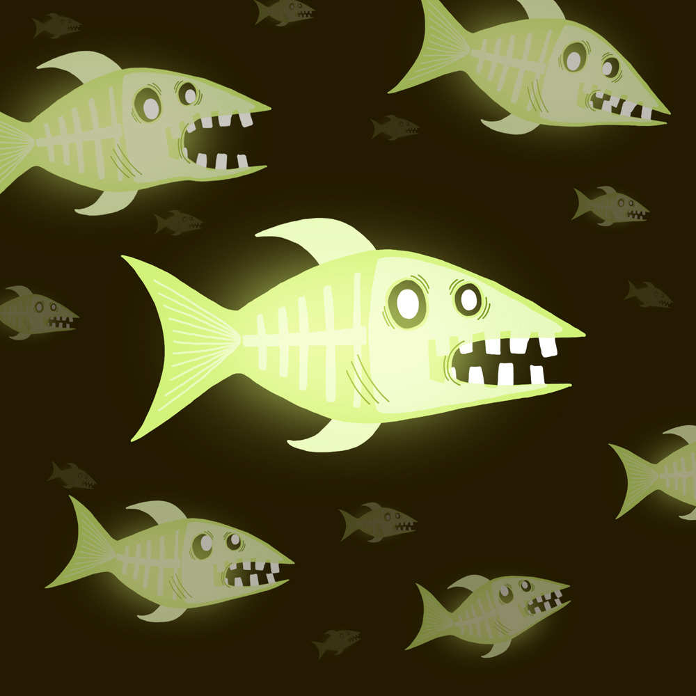 illustratedaliens:  06 May 2013 Sleek transparent green fish.