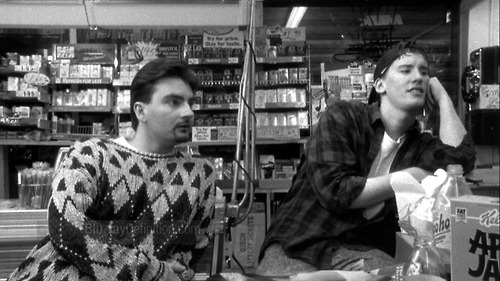 32. Clerks. Written and Directed by: Kevin Smith Produced by: Scott Mosier, Kevin Smith Cinematography by: David Klein Edited by: Scott Mosier, Kevin Smith Starring: Brian O'Halloran, Jeff Anderson, Marilyn Ghigliotti, Lisa Spoonhauer, Jason Mewes, Kevin Smith, Scott Mosier, Scott Schiaffo, Al Berkowitz, Walter Flanagan Synopsis: A Saturday in the lives of two convenience store clerks (O'Halloran and Anderson) and the interactions they have with the multitude of strange customers they encounter. In-between their shenanigans, they divulge in existential pondering on their dead-end jobs, troubled romantic relationships, and life in general—usually in very graphic detail. Thoughts: Much to my surprise I thoroughly enjoyed this film. I haven't seen too many of Smith's films (actually, come to think of it the only film of his I've seen previously is Dogma, which I really enjoyed), but I was hesitant about Clerks. at first because it looked like it was going to be another boring workplace romp like Office Space (yeah, I don't like that movie, whatever, shut up). I think this film succeeds because of its writing. It's a funny dichotomy in that it contrasts two things that aren't always seen together: very intricate analyses of either mundane or graphic topics. And, the actors cleverly recite their dialogue in a quick and witty manner. The characters themselves are really amusing. Even though they're very caricature-like, they never become irritatingly so. In essence, not one of my favorite comedies, but enjoyable nonetheless.