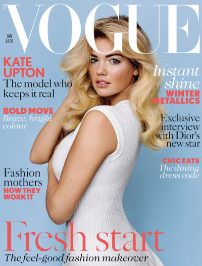 Kate Upton for her first cover of British Vogue [Jan 2013]